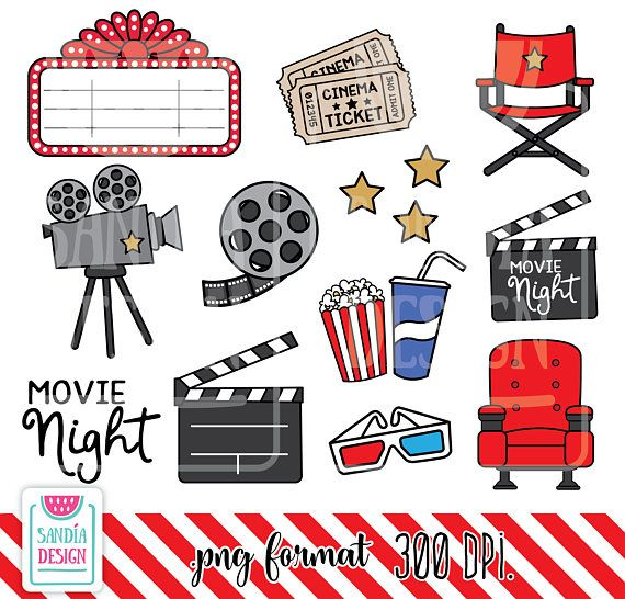 Movie night. Doodle clipart time