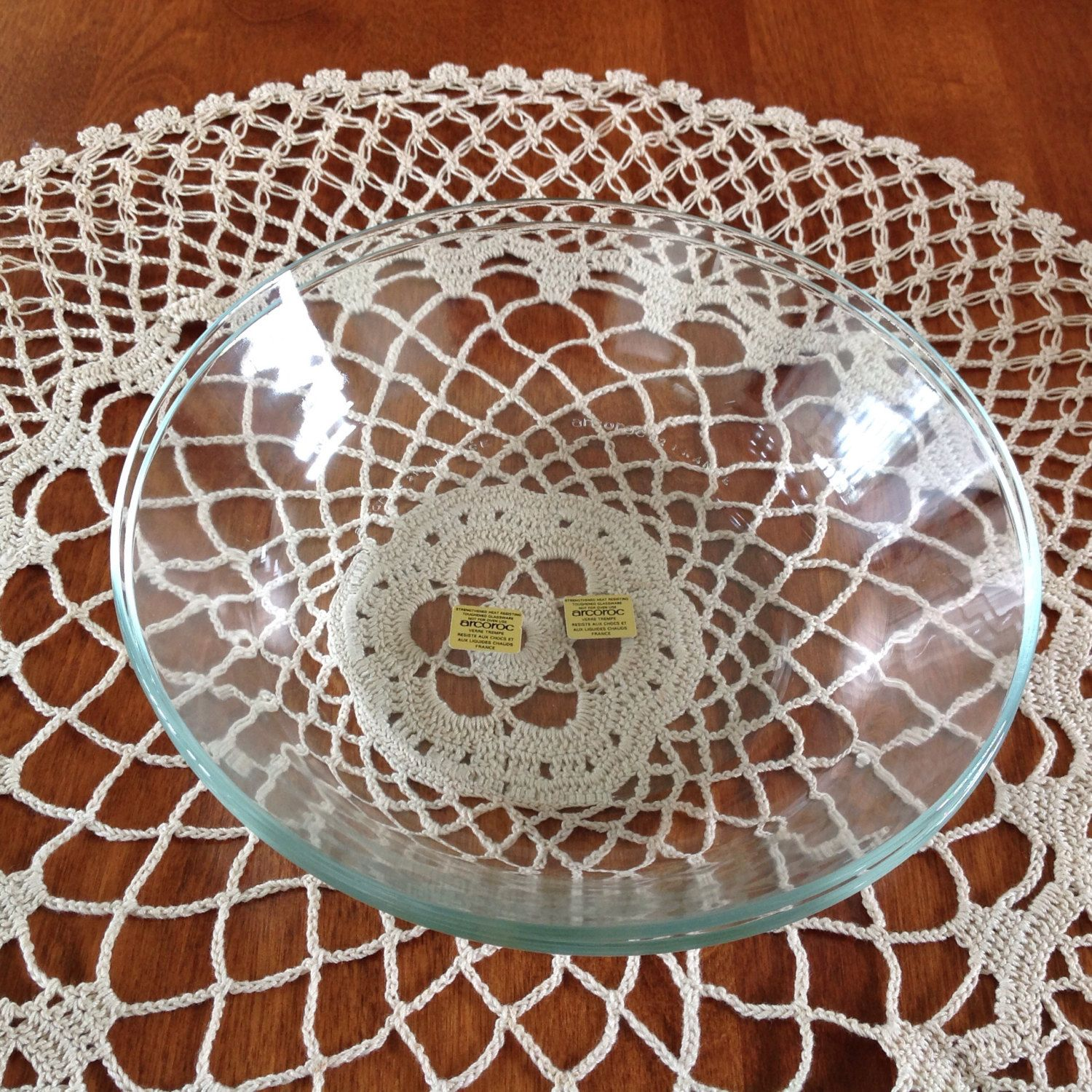 "Vintage Arcoroc France, Classique Clear Coupe, 8"" Soup Salad Bowl (2) by BucketListGarnishes on Etsy"