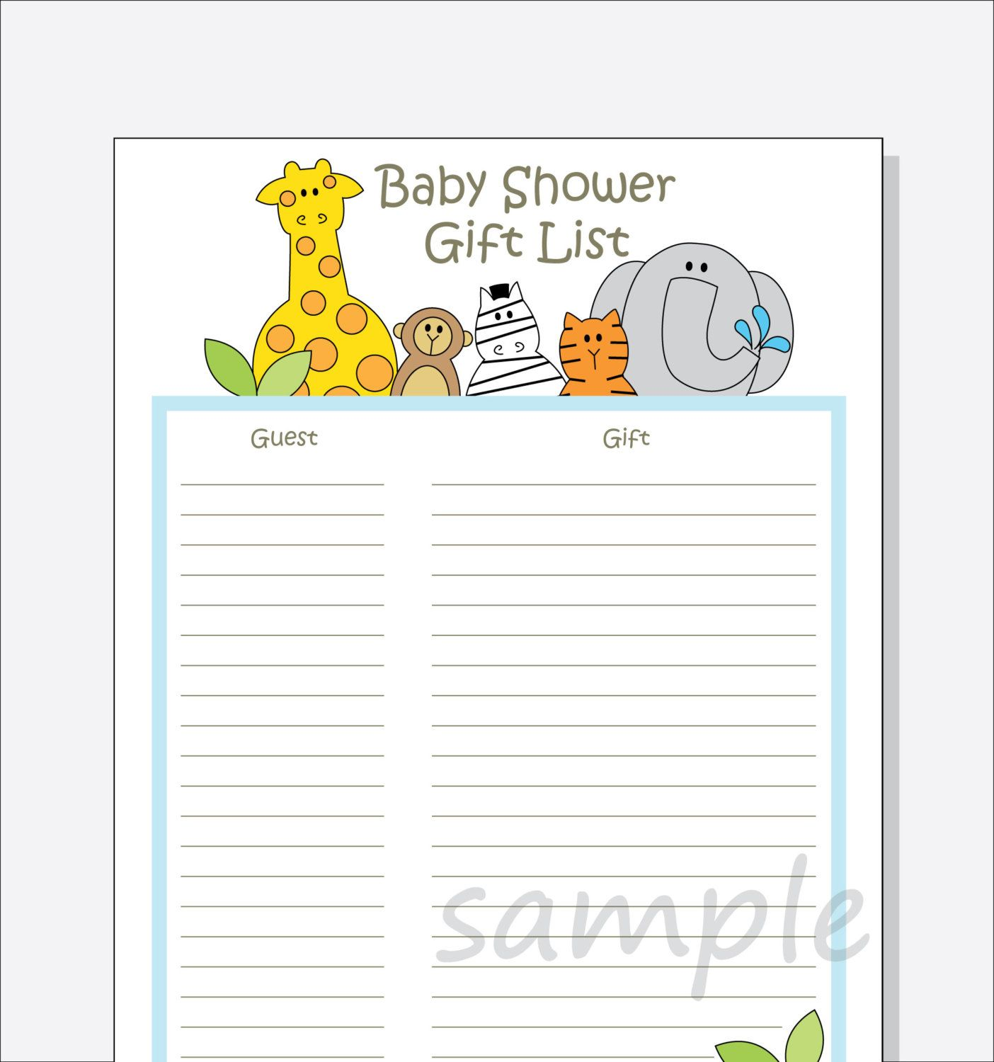 DIY Baby Shower Guest Gift List Printable   Jungle Animals Design With  Blue, Pink Or Green Border  Baby Shower Guest List Template
