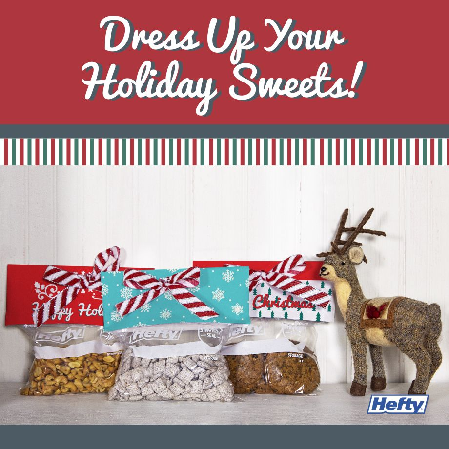 If you're giving treats this holiday, make the bag extra festive with these toppers. Hefty has templates for you to use to make it extra easy. Click to learn more!