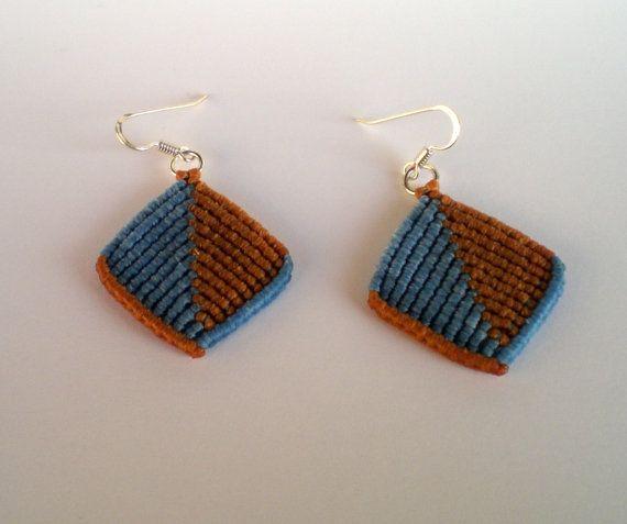 Macrame earrings blue and brown in simple geometric by asmina