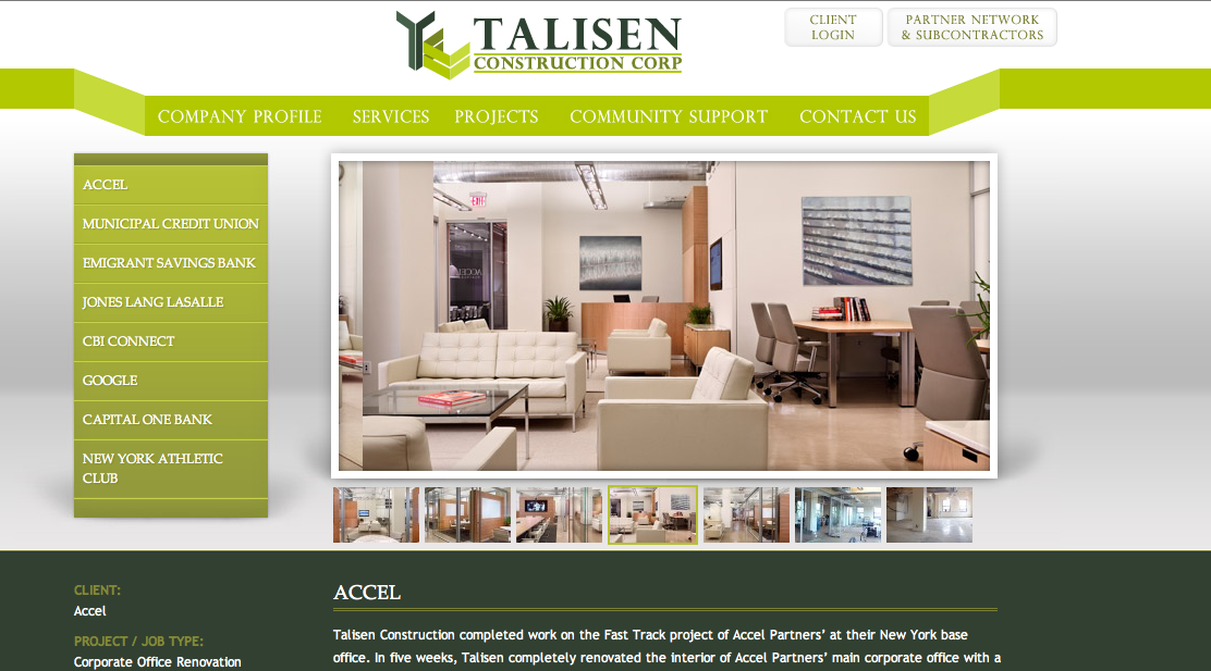 Just Launched The New Project Portfolio Layout For Ny City Construction Company Talisen Construction Construction Nyc Construction Construction Company