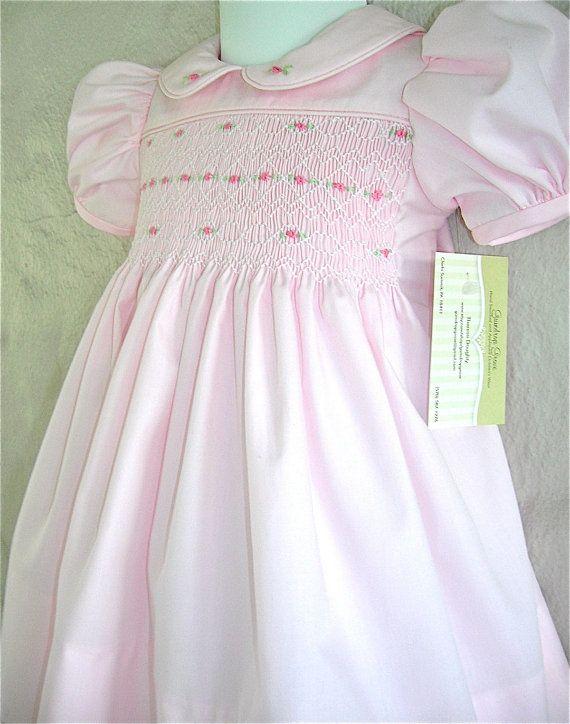 Girls pink smock dress