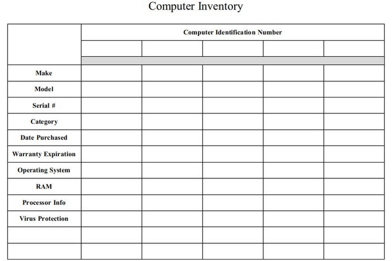 Computer Inventory Template Sample Computer Templates Assessment Tools