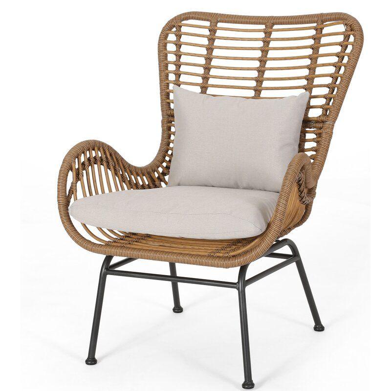 Tarnowski Wicker Patio Chair with Cushions Wicker patio