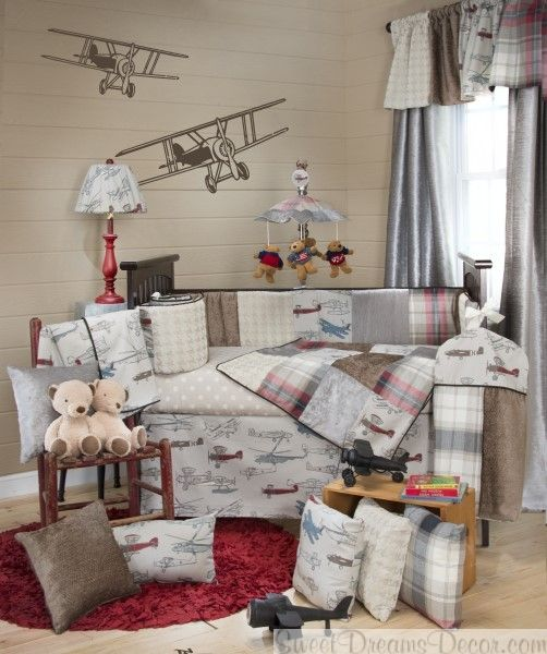 Fly By Baby Boy Crib Bedding Collection With Vintage