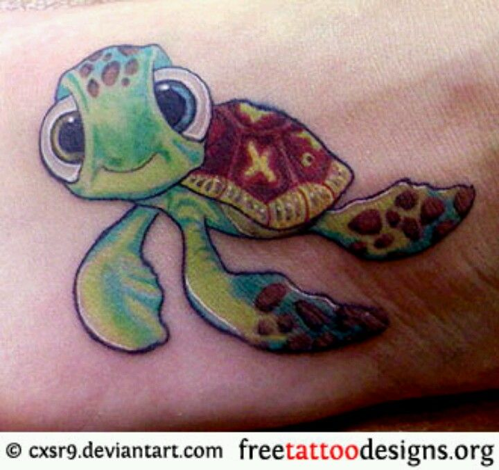 125 Unique Turtle Tattoos With Meanings And Symbolisms: Squirt Tattoo. #SeaTurtles #Nemo