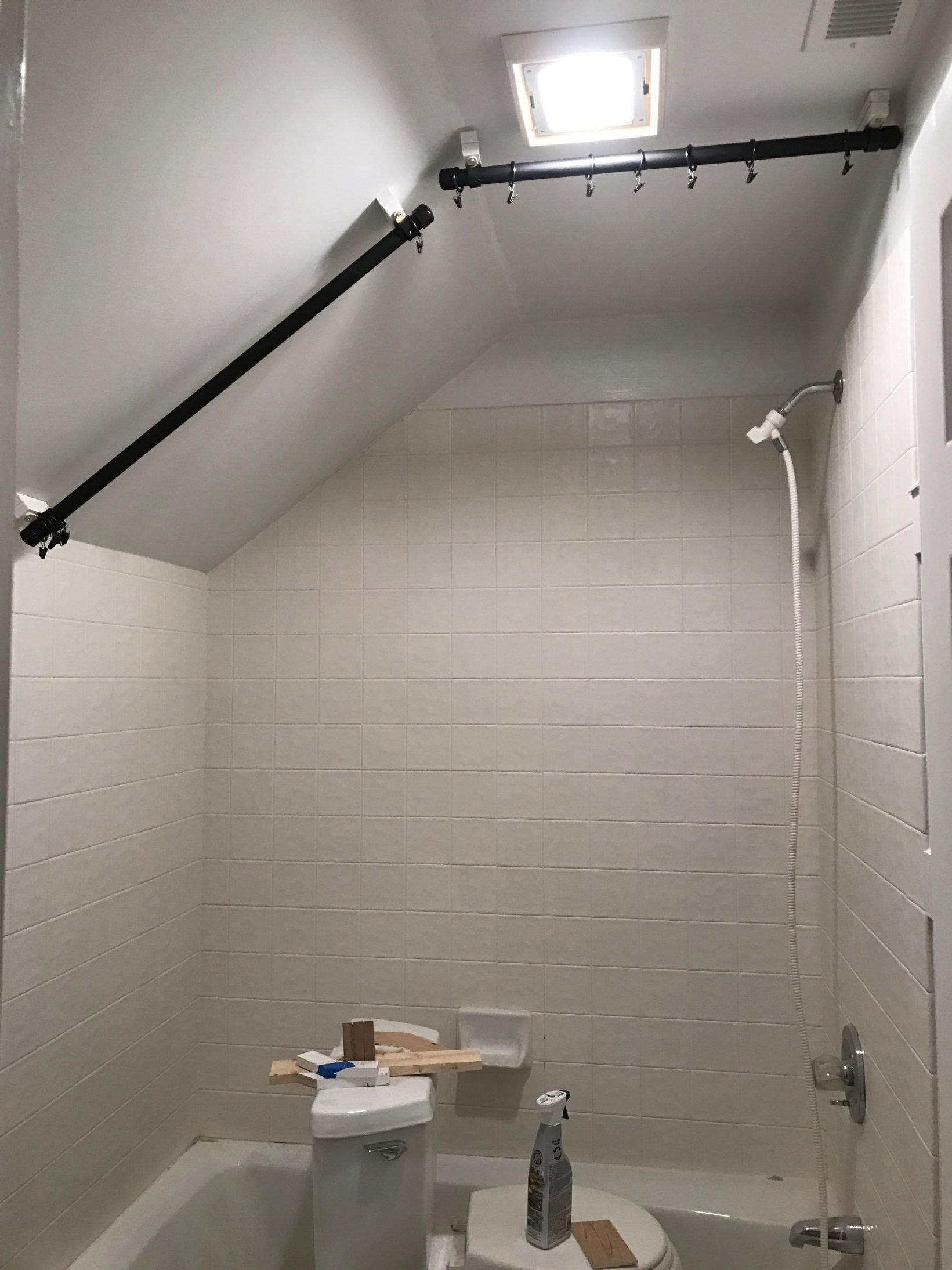 Diy Angled Ceiling Shower Curtain Rod Ambler Harmon Diy Shower