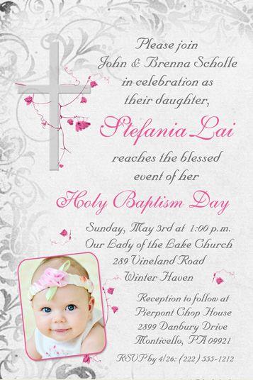 Elegant Holy Baptism Invitation Catholic Flowers Cross Aubree S