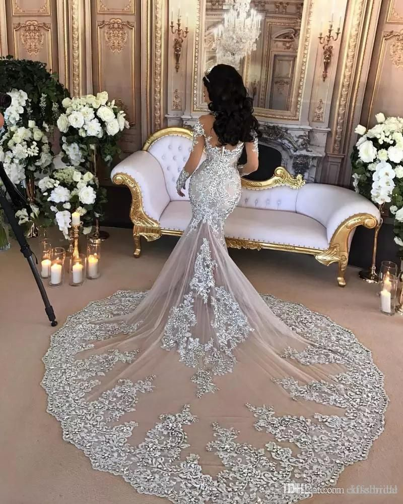 f3a8f0f01f08 Retro Sparkly 2017 Wedding Dresses Sheer Mermaid Beaded Lace High Neck  Illusion Long Sleeves Arabic Chapel Bridal Gowns Formal Dubai Dress