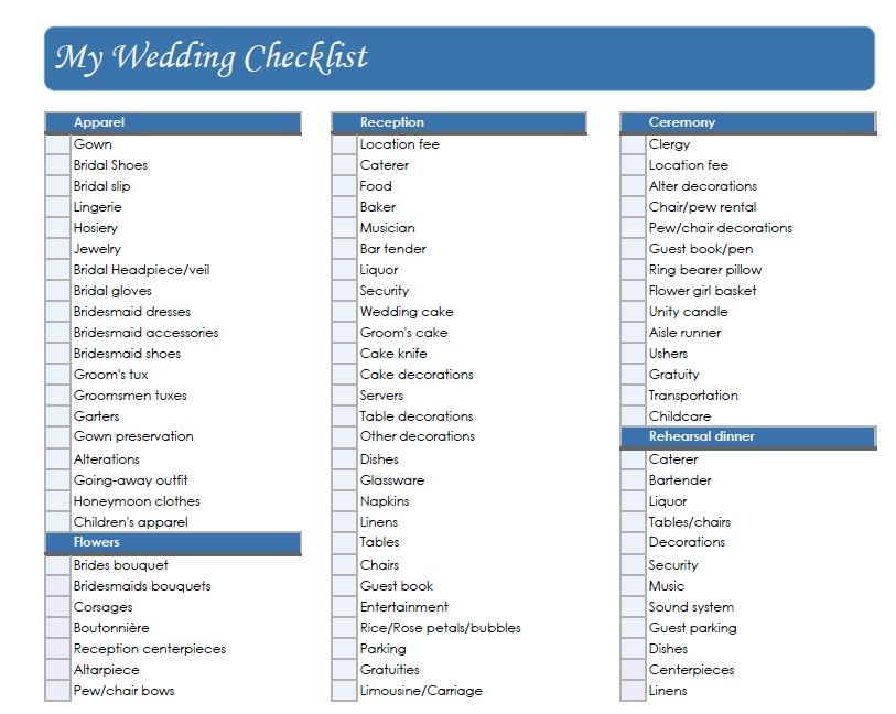 Wedding Checklist Printable Templates From The Internet