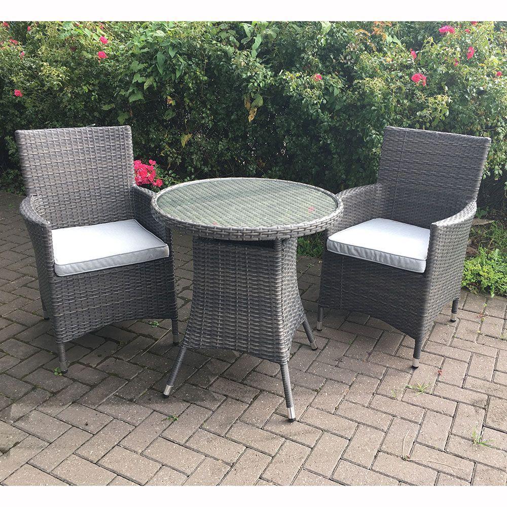 2 Seater Bistro Set Grey Rattan Steel Frame Padded Glass Table Garden Furniture Cheap Garden Furniture Wooden Garden Furniture Outdoor Furniture Sale [ 1000 x 1000 Pixel ]