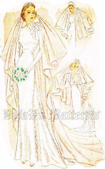 Simplicity 3043 Gorgeous Vintage 1930s Bridal Veil Sewing Pattern ...