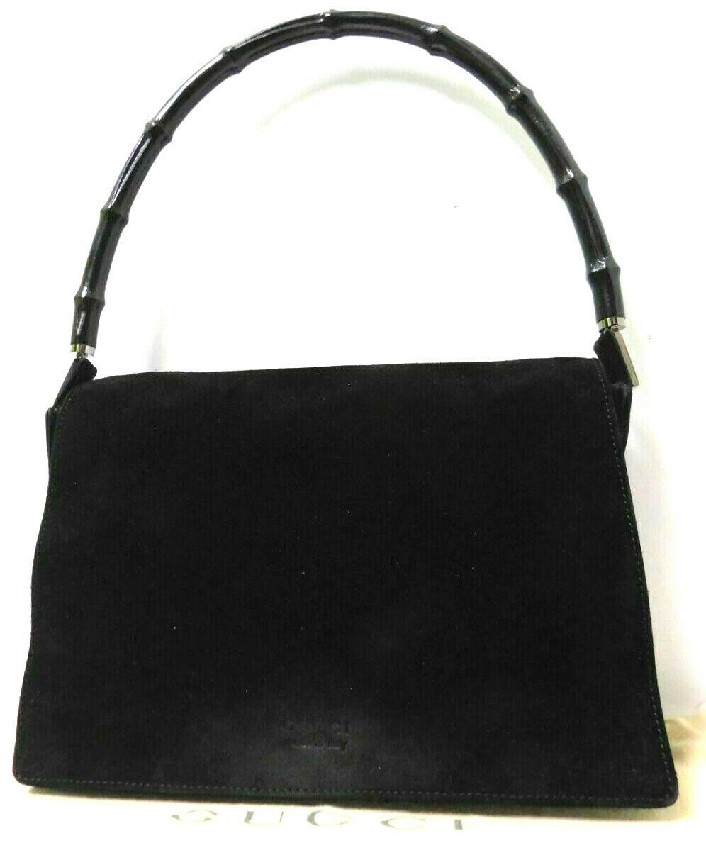 2e17d1880b91 #FORSALE GUCCI handbag Bamboo Suede Leather Hobo Shoulder Hand Bag Purse  Auth Black - $13