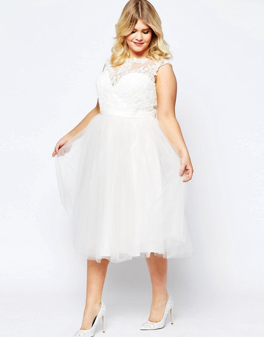 Asos Curve Bridal Lace Sweetheart Tutu Midi Dress Plus Size Bride Modern