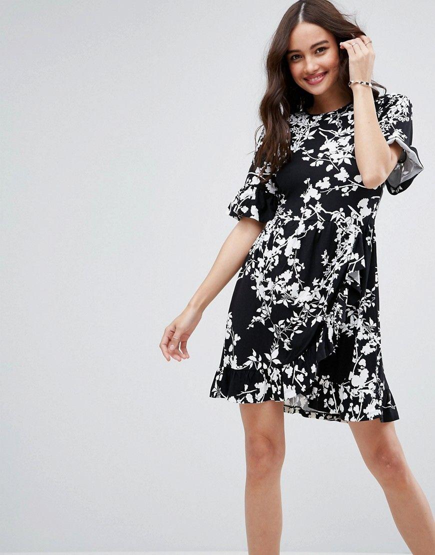 Mini Tea Dress with Frill Wrap in Mono Print | Pinterest | Asos de ...