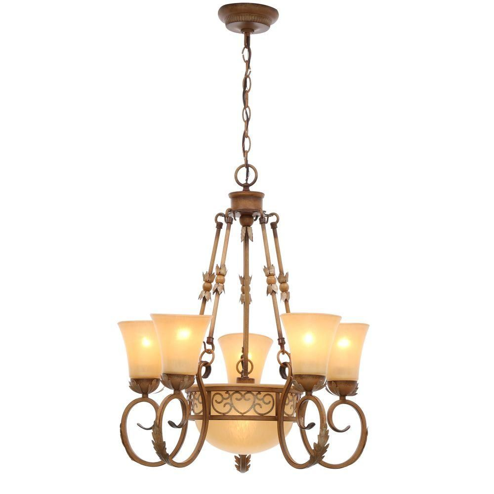 Home Depot Dining Room Chandeliers: Hampton Bay Florentina 6-Light Amandale Chandelier With