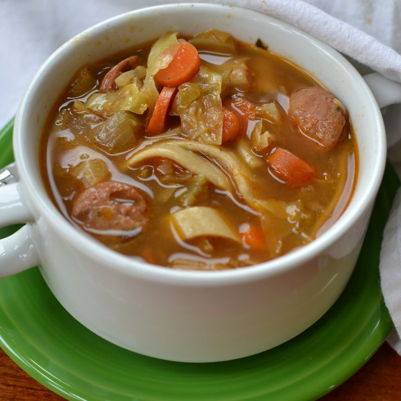 Savory Chicken Sausage Cabbage Noodle Soup ♥ Small Town Woman