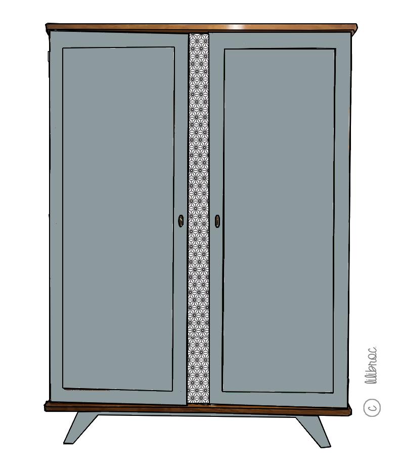 armoire vintage manon croquis de relooking meubles vintages lilibroc pinterest relooking. Black Bedroom Furniture Sets. Home Design Ideas