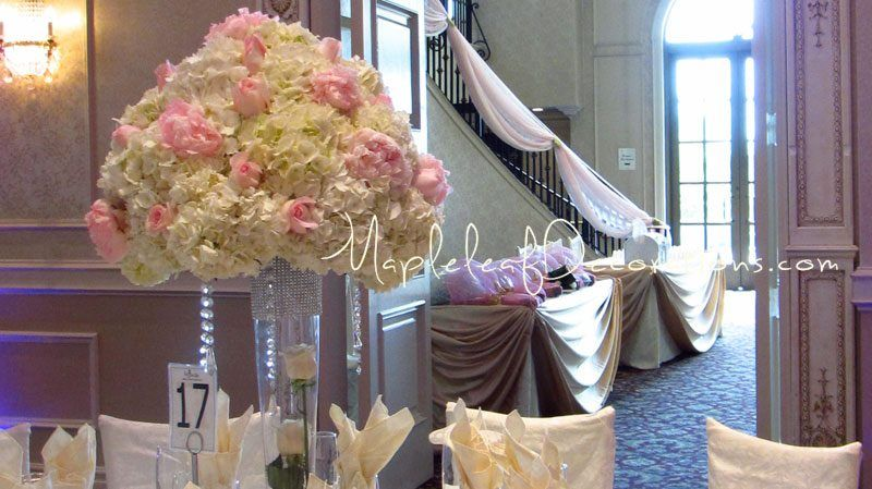 Toronto wedding decorations custom backdrop and head table draping toronto wedding decorations custom backdrop and head table draping design french victorian inspired by mapleleaf decorations in colour pink junglespirit Gallery