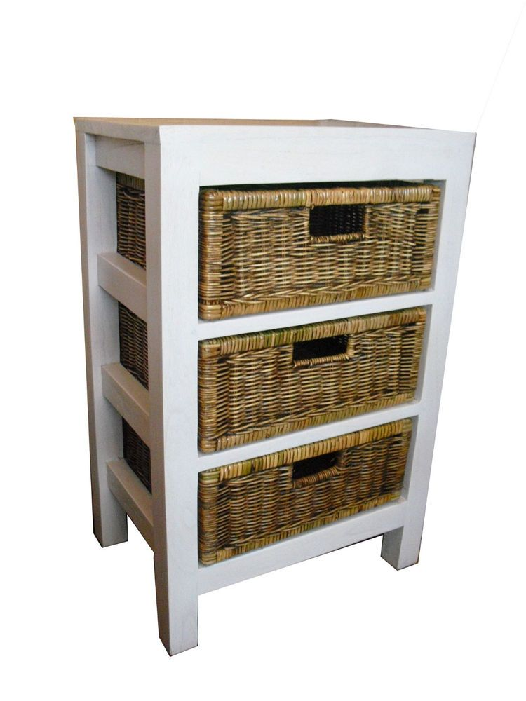 Storage Unit With Wicker Rattan Baskets White Shabby Chic Effect