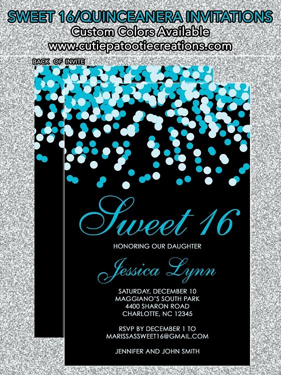 Tiffany Blue Black Confetti Sweet 16 Invitations