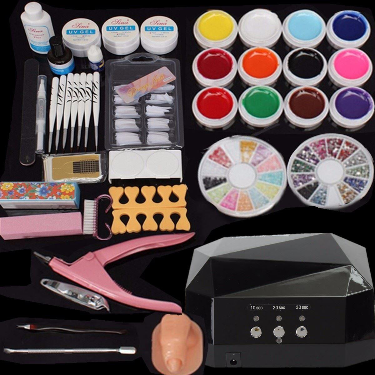 Professional Nail Dryer Lamp Machine + 12 Color UV Gel Polish Nail ...