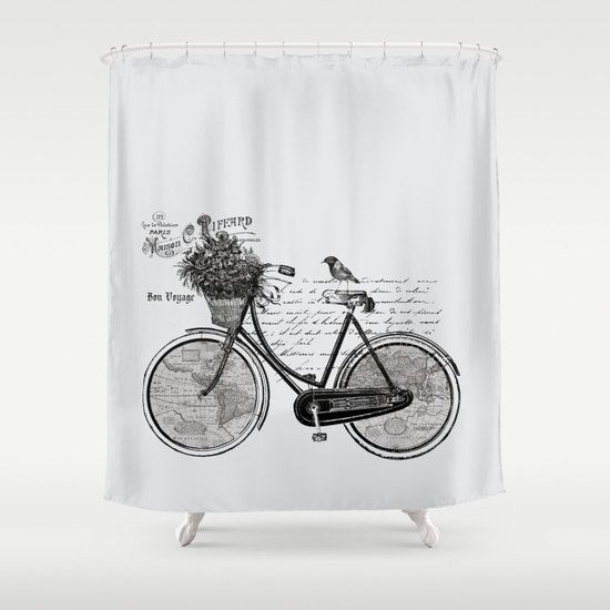 Bicycle Shower Curtain World Tour France Gray Bike Map - Hand lettered us map black and white shower curtain