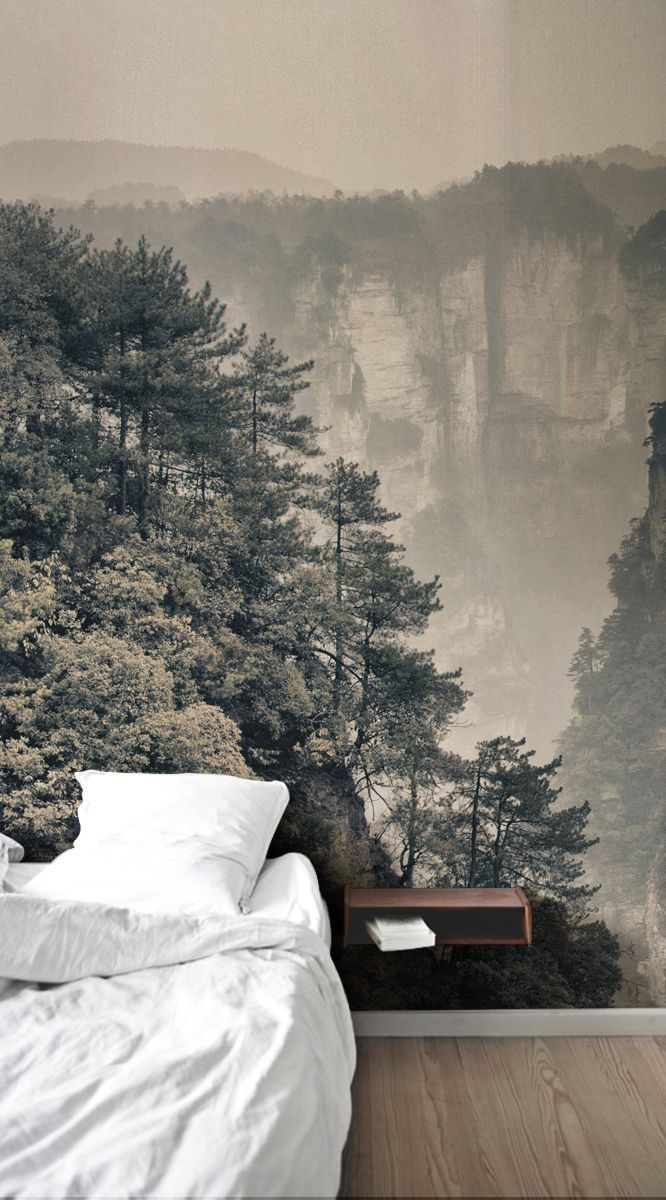 You Can Create A Stunning And Striking Feature Wall In Your Own Home With This Mountain View Mural