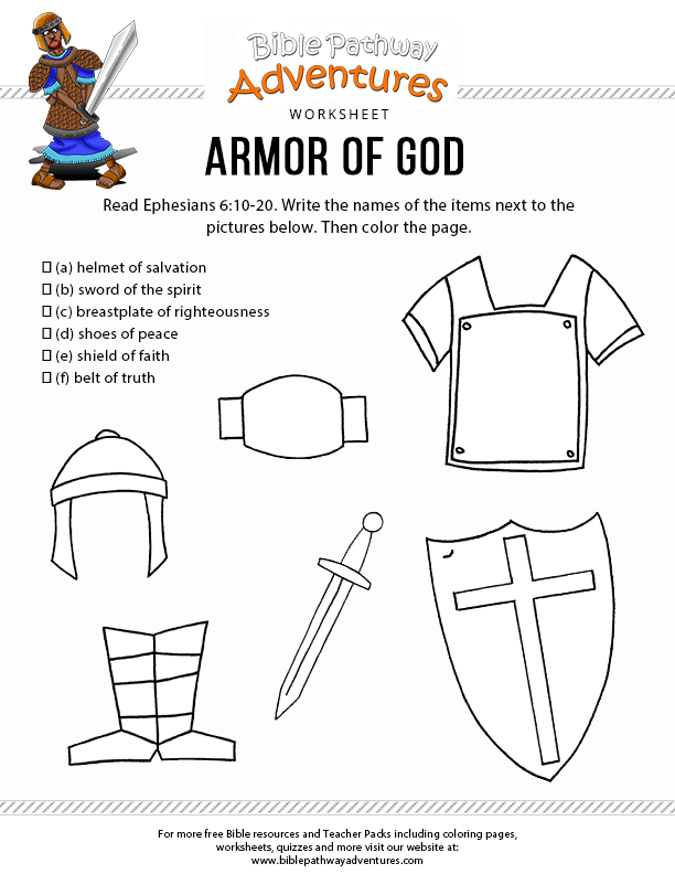 Adaptable image pertaining to printable armor of god worksheets