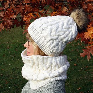 19787bf1aef A chunky knit hat with elegant horseshoe cables and just-right slouch.  Stylish   perfect for winter gift-giving (see also matching Rothesay Cowl  pattern).