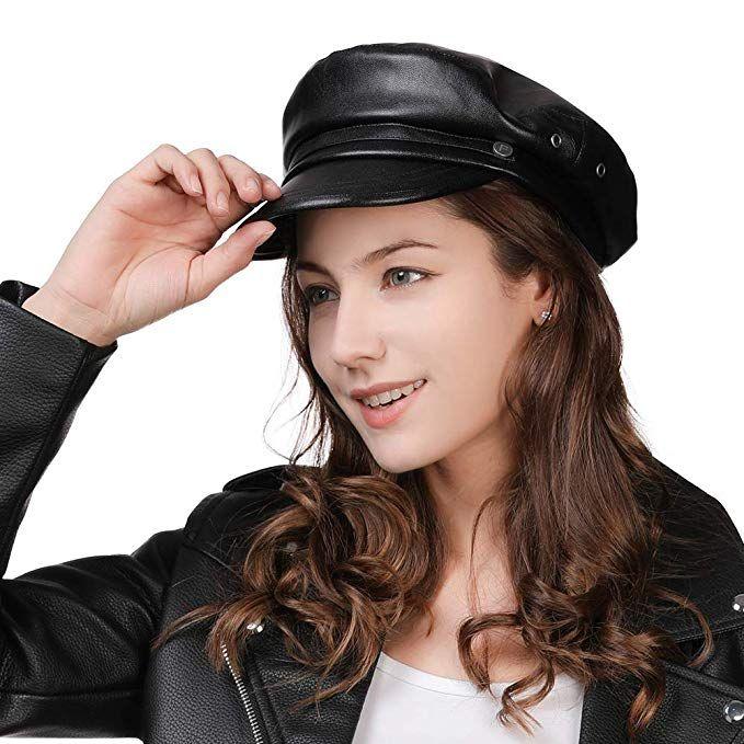 e06f5043 Womens Newsboy Cap Baker Berets Fisherman Conductor Greek Hat Sailor Fiddler  Winter PU Leather Casual Fashion