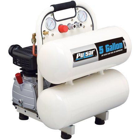 Pulsar 5 Gallon Twin Tank Air Compressor White Products