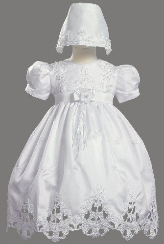 White Shantung Christening Baptism Dress with Cutwork Accents and ...
