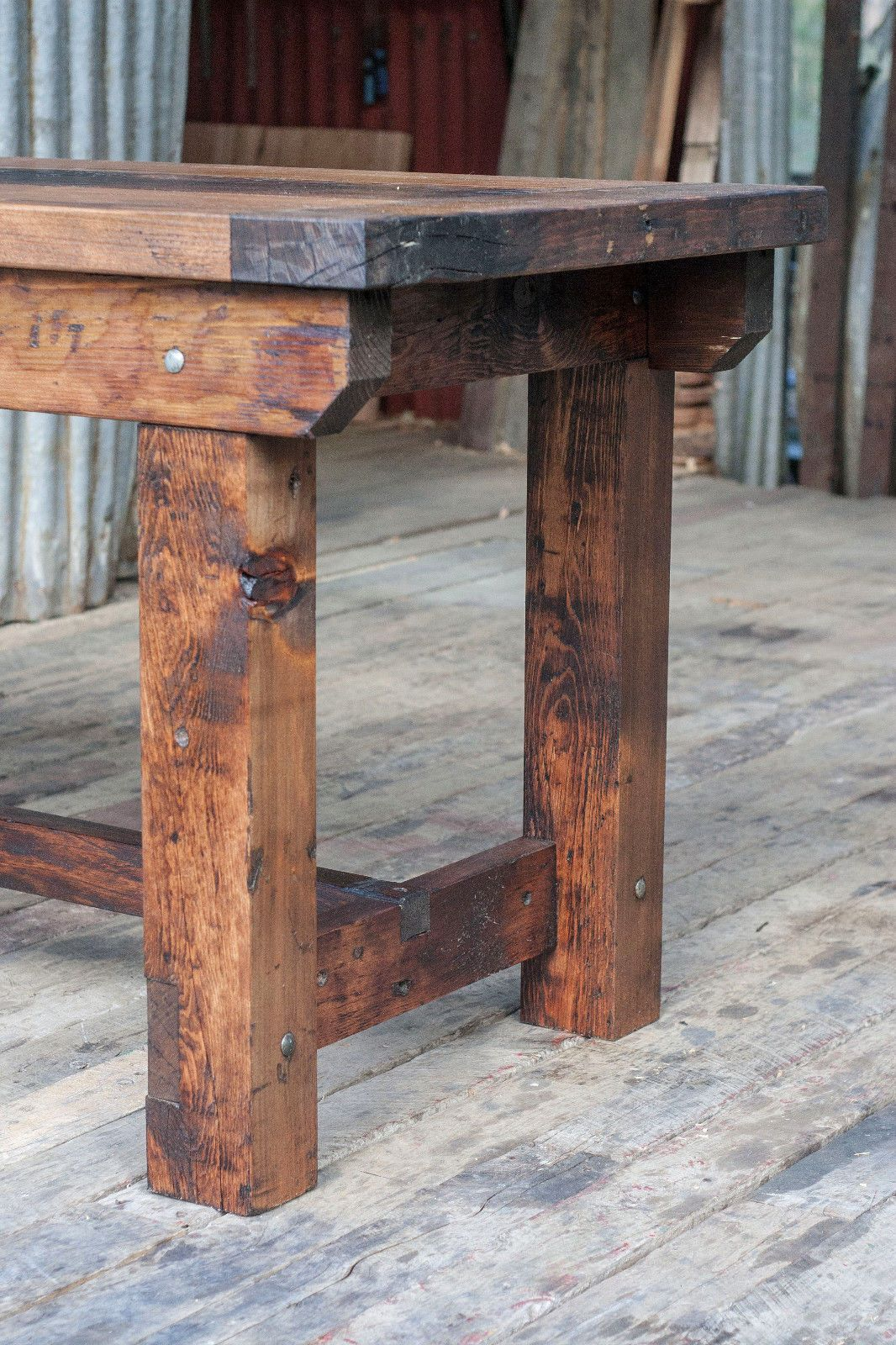 Rustic industrial vintage style timber work bench or desk for Kitchen island bench