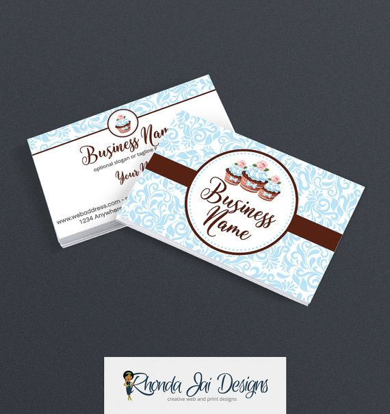 Business card designs bakery business card 2 sided printable a beautiful bakery business card design that you can print at home or have printed online save 10 when you use discount code pinterest10 during checkout reheart Image collections