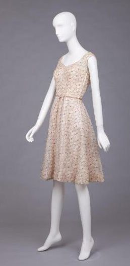 Pink Dress With Blue and Pink Embroidery - Goldstein Museum of Design