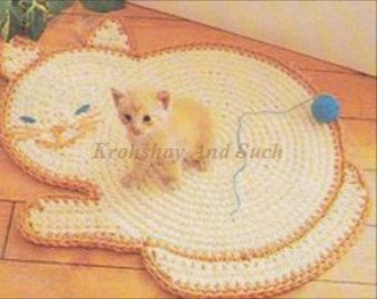 Cat Rug Crochet Pattern, PDF Instant Download.