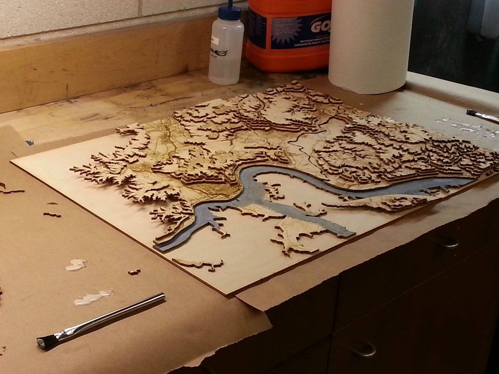 Laser Cut Topographical Map Of Cincinnati Cnc Pinterest Laser