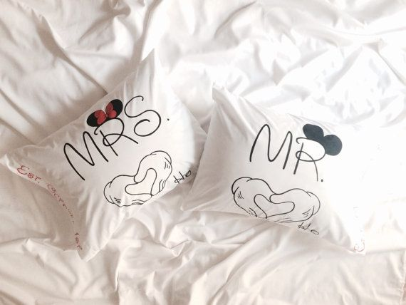 Wedding Disney Pillowcases Personalized Gift Engagement Newlywed Anniversary