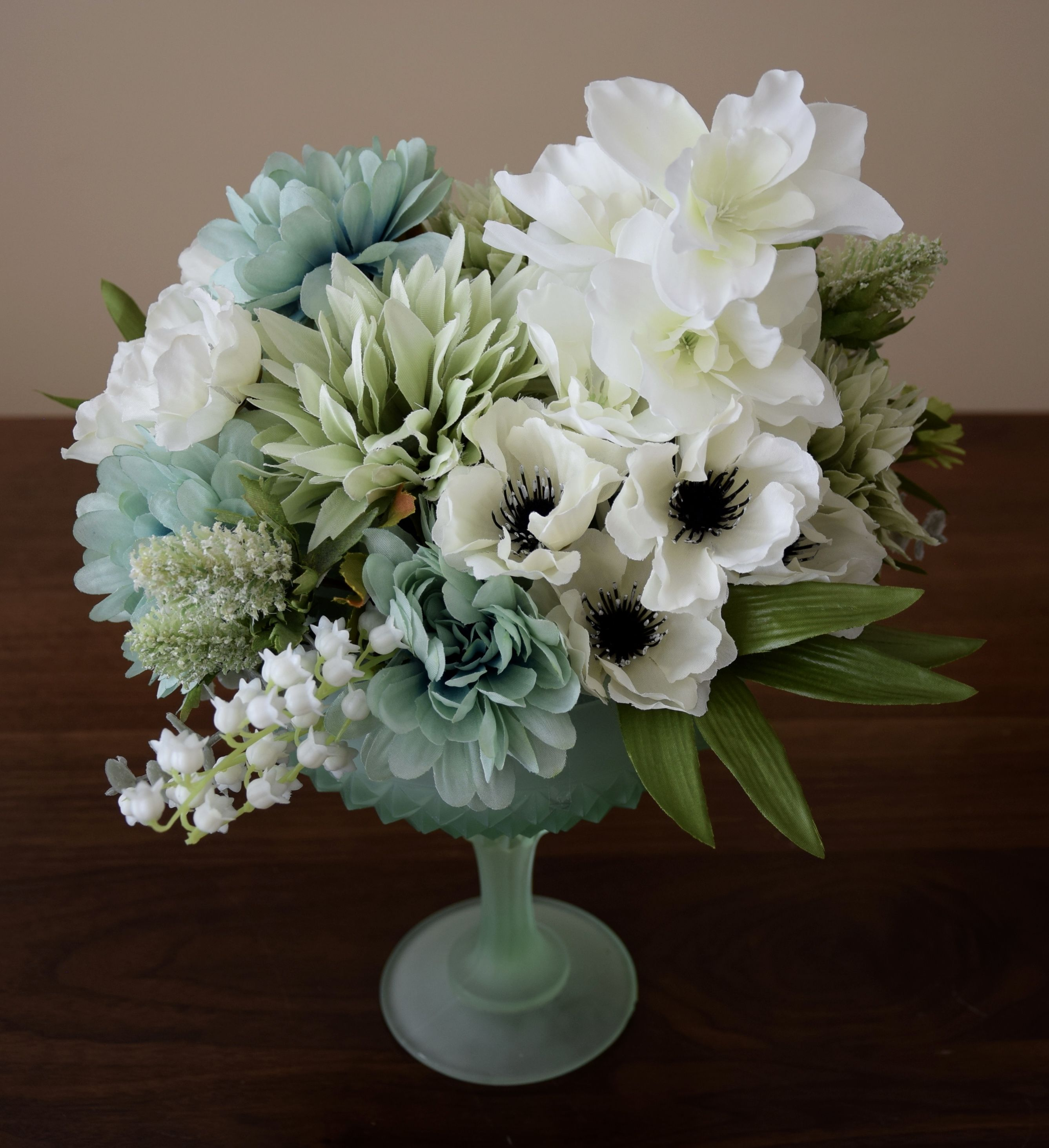 Flower Arrangement Create With High Quality Silk Flowers White And