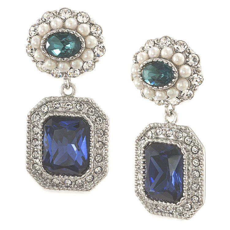 Regal Reflection Peacock Ornate Double Drop Pierced Earrings