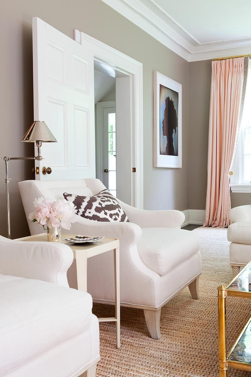 Pink gold gray living room with white linen sofa pink curtains with gold hardware and gold coffee table walls are bm ranchwood anne hepfer crown