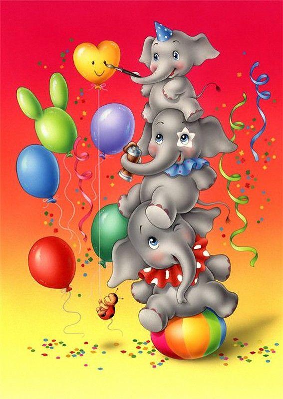 Сирень, открытка с днем рождения слона
