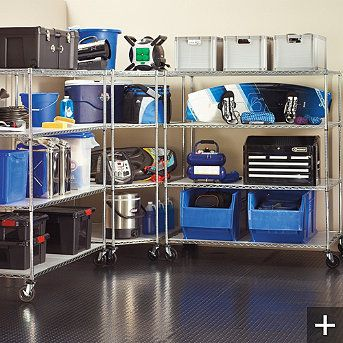 Oversized Garage Storage Shelving... like the wheels for easy repositioning
