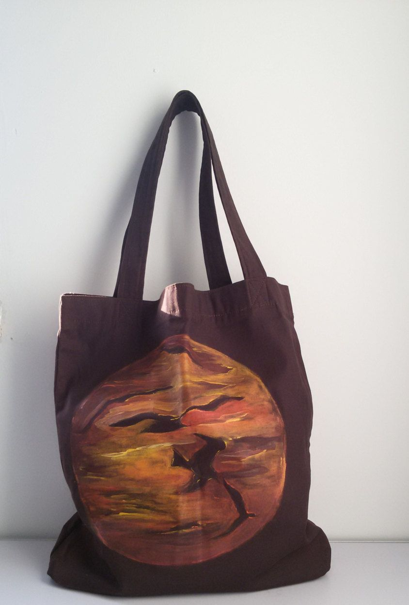 Borsa a spalla fatta a mano in cotone tramonto e gabbiani dipinti a mano by MediterraneanArt on Etsy