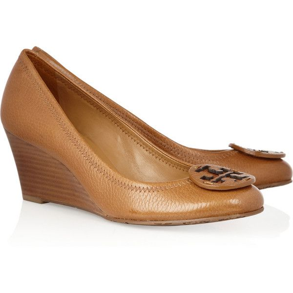 Tory Burch Sally leather wedge pumps ($265) ❤ liked on Polyvore