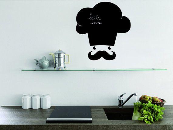 lavagna adesiva, adesivi murali, cucina, wall decals lavagna cuoco ... - Lavagne Cucina