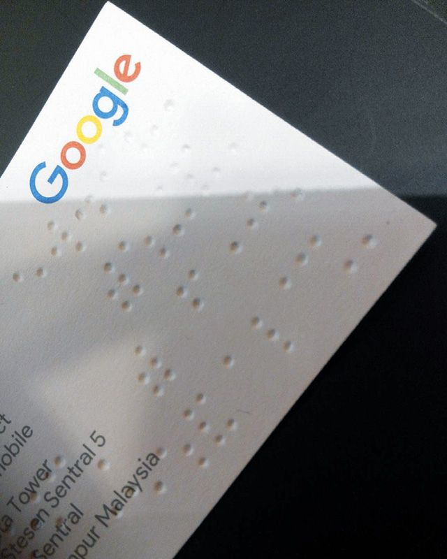 A Google Business Card With Braille Google Business Card Name Cards Packaging Design