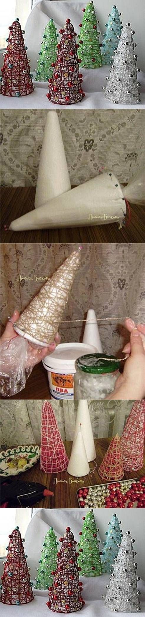 DIY Cute Decorative Christmas Trees. I would skip the bells/ornaments and keep it as is.  Could reuse the same styrofoam cone from the craft store, twine/string, and starch or adhesive spray... ?